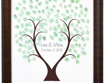 Thumb Tree Guest Book Love - Signature Mat Cherry Frame, Wedding Guest Book, Wedding Guest Book Alternative