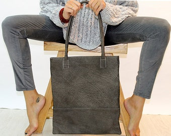 Sale!!! Distress  Grey  Leather Tote Bag - Italian Leather, Bags for Women, Leather Tote, Handmade with LOVE!