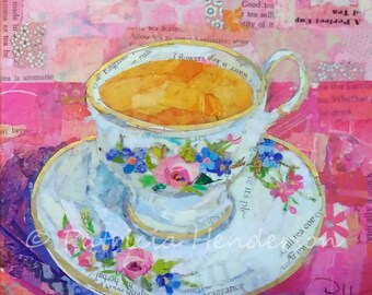 """TEA AT GRANDMA'S Original Paper Collage Tea Cup Painting 6"""" X 6"""" X 1.5"""" on Gallery wrapped canvas"""