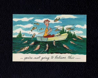 Artist Signed: Martine, Ted 'You're Not Going to Believe This...' comic postcard with man fishing C 1950's lot #pc115