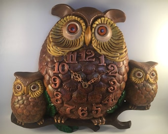 1974 Family of Owls ceramic clock