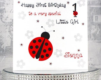 Handmade Birthday Card - Personalised Ladybird Birthday Card - With genuine Swarovski Crystals - FREE UK DELIVERY!