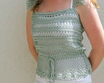 Light-turquoise Woman Crochet Lace Top — Handmade Linen Tank — Size M