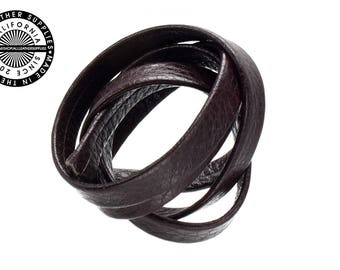 """Genuine Leather Strap, Folded, Dark Brown, 6mm (1/4"""" inch) 3 yards (108"""" inches)  (1705)"""
