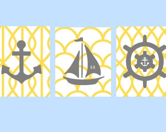 "Yellow and Gray Nautical Nursery Wall Art, 3- 11X14""  prints, Nautical Art Prints for Nursery or toddler room, or as"