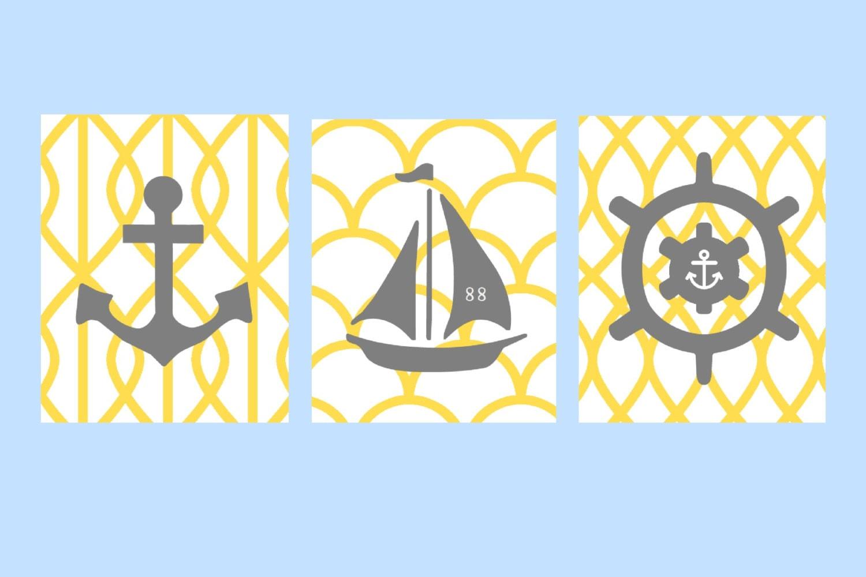 Yellow and Gray Nautical Nursery Wall Art 3 11X14