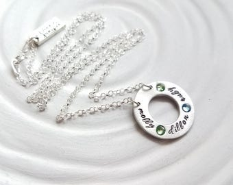 Mother's Necklace - Personalized Birthstone Washer Necklace - Itty Bitty Washer - Grandmother Necklace - Gift for Her - Child Name Necklace