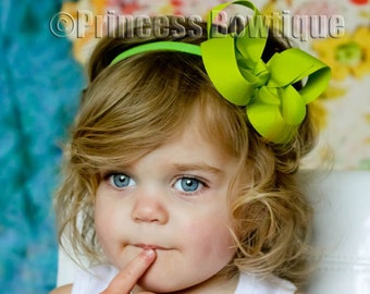 Lime Baby Headband, Green Hair Bow Newborn Infant Headband, Holiday Head band, Boutique Hair Bow Headband,  Baby Gift