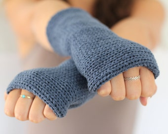 Knitted gloves mittens Gray Arm Warmers, Knitted Arm Warmers,