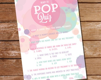 Ready To Pop Baby Shower Pop Quiz  - Baby Shower Game - Girl Baby Shower Invitation - Instant Download and Edit with Adobe Reader