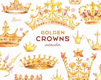 Golden Crowns. 14 Watercolor handpainted Clipart. Royal, king, princess, red, logo, invitation, digital png, style, sticker