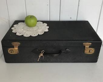 "Vintage Black Suitcase 2 Keys Included - 21 3/4"" x 12"" x 6"" Gold Interior"