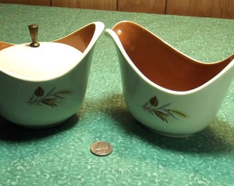 Vintage Taylor Smith and Taylor Autumn Harvest Sugar and Creamer  Set