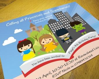 Princess & Superhero Party Invitations • Qty 50 - 99 • including Envelopes