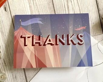 Circus Thank You card, A6 size, thank you card, friend card, circus card, funny card, circus