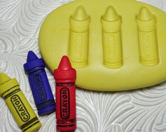 "1 1/8"" CRAYON TRIO Flexible Silicone Rubber Push Mold for Resin Wax Fondant Clay Ice 1901"