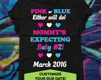 Custom Baby #2 Announcement or Baby Bodysuit or Toddler T-Shirt Pregnancy Reveal New Baby Tee Big Sister Big Brother Shirt Custom Due Date