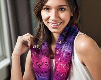 Crochet Pattern -- Heart Lace Infinity Scarf -- Crochet Pattern