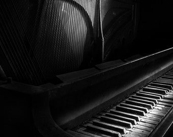 Vintage Theater Piano Black and White