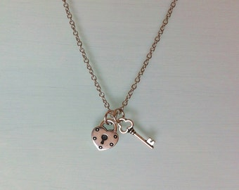 Key to My Heart Necklace Heart Lock Key Pendant Best Friends Jewelry