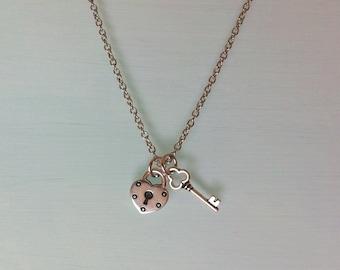 Key to My Heart Necklace Heart Lock Key Pendant Best Friends Jewelry