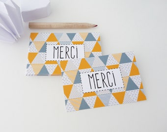 Set of 18 mini Scandinavian patterned thank you cards