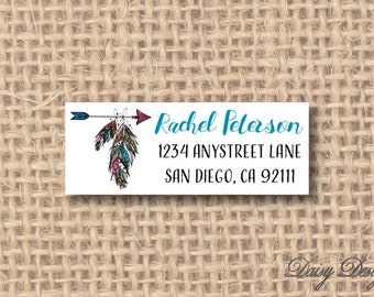 Return Address Labels with Arrow and Feathers - 120 self-sticking labels