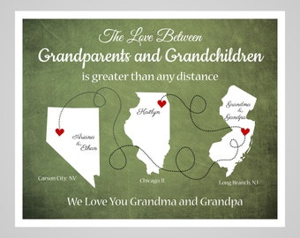 Long Distance Grandparent Gift, Mothers Day Gift, 3 States, Gift for Grandma and Grandpa, Grandma and Grandpa Gift Map for Grandparents