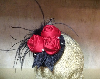 Red and Black Fascinator Headpiece
