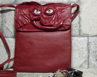 Small Cross Body Purse Pouch Monster Face Red Leather Harry Potter Labyrinth 435