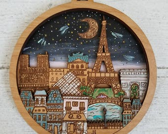 Paris Art Illustration, Paris Map Art, Paris mini city by Rylee and Ink, Eiffel Tower art, Eiffel Tower Art