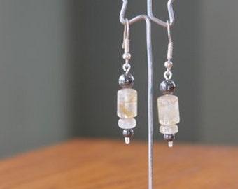 Quartz and Hematite Earrings