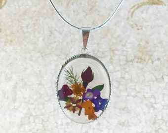 Mother's Day Necklace, Real Flowers Necklace, Wild Flowers Necklace, Miniature Flowers Pendant,Pressed Flowers Jewelry