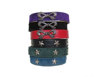 Suede & Cowhide Leather Dog Collars for Miniature Dogs CLOSEOUT