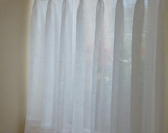 100% Linen Kitchen Window Cafe Curtains Semi Sheer Curtains Bathroom Window  Pleated Curtains Country Curtains Pinch Pleat Custom Curtains