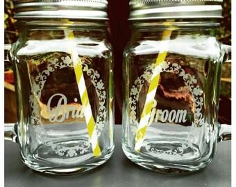 Bride & Groom Engraved Mason Drinking Jars - New - Handmade