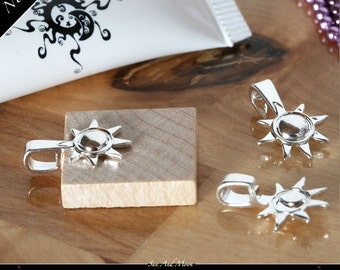 NEW BAILS  - 100 Sun And Moon Bails - Small Silver Plated Bails for Scrabble Tile Pendants and Glass Tile Pendants