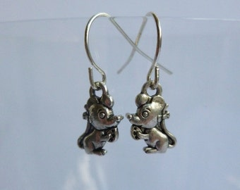Tiny Mouse Earrings Tibetan Silver Charms Fancy Rat Mouse Jewellery