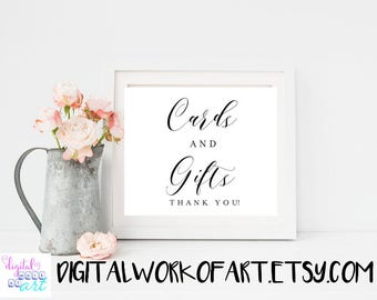 Cards and Gifts Sign, DIY Rustic Wedding Gift Table Reception Sign Printable 8x10 Calligraphy PDF,  instant download, #AI-02