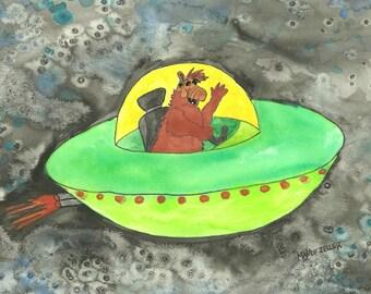 Alf watercolor print - Spaceship Alf!