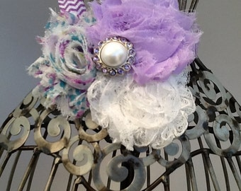 Lavenderheadband, light purple and floral headband, purple and white headband, shabby chic hair flowers hair accessory, girls headband