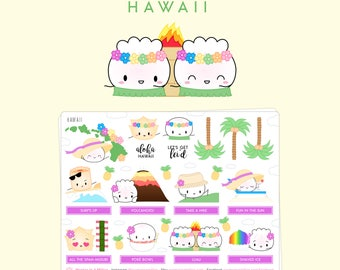 "Hawaii Stickers - ""The Steam Team Travels To Hawaii"" [Travel Stickers, Deco Stickers] // ""Dimsum Around The World 1.0"" Collection - S130"