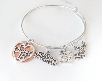 16th Birthday Bracelet, 16th birthday, bangle bracelet, Happy Birthday, Grand Daughter, Made with Love, Gift for granddaughter, bangle