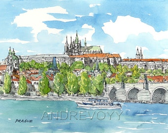 Prague  Czech Republic art print from an original watercolor painting