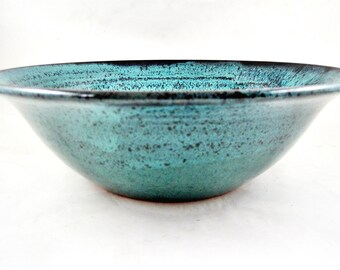 Pottery serving bowl, Ceramic serving bowl, Handmade bowl, Large teal blue bowl - In stock 229 SB