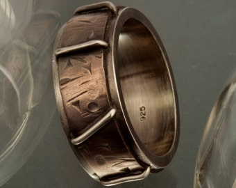 Men's wedding band, Rustic men's ring, Men's ring, Silver and copper, Unique Engagement Ring, Mens wedding ring, Gift for men,  RS-1190