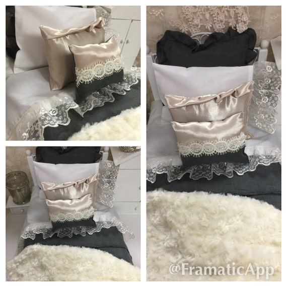 Sale-18 inch Girl Doll Sized Doll bedding -Exquisite Silk, Lace and  Polyester Gray and Creamy Whites Custom Doll Bedding-