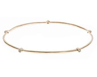 Yellow Gold Diamond Bangle, 0.15 TCW, Diamond Bracelet, Eternity Bangle, Stackable Bangle, Diamond Bangle Bracelet, Round Bangle, 14k Gold