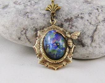 Blue Harlequin Glass Opal Pendant Necklace, Valentines Gift For Her, Mothers Day Gift For Her, Gift For Her.
