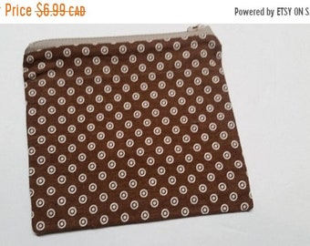 CLOSING 75% OFF SALE Zipper Pouch - brown dots or green floral - clearance pick your colour
